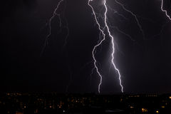 Lightning storm over city Stock Photography