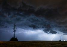 Lightning storm over the city, Prague, Czech republic stock image