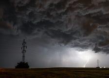 Lightning storm over the city, Prague, Czech republic royalty free stock photography
