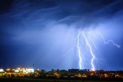 Lightning storm over Prague, Czech republic royalty free stock photo