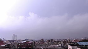 Lightning storm over the city. stock video footage