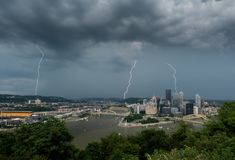 Lightning storm over cityscape of Pittsburgh from Mt Washington overlook royalty free stock photos