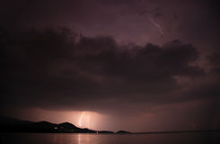 Lightning storm over lake Royalty Free Stock Photo