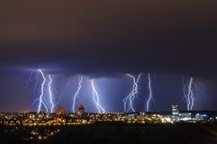 Lightning storm over Prague, Czech republic royalty free stock images