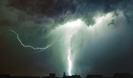 Lightning storm. Over the town Royalty Free Stock Photography