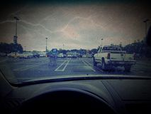 Lightning storm. Rainy day lightning from car Royalty Free Stock Photos