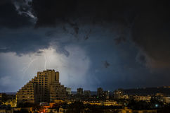 Lightning storm. In the sea, with dramatic sky. Varna, Bulgaria Stock Photo