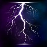 Lightning storm strike realistic 3d light lighting effects vector illustration. Royalty Free Stock Image