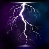 Lightning storm strike realistic 3d light lighting effects vector illustration. Royalty Free Stock Photos
