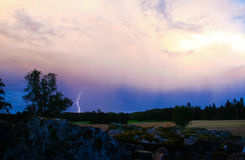 Lightning storm strikes. Photo of a lightning storm in sweden Stock Photography