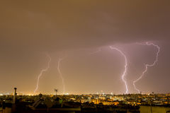 Lightning storm strikes the city of Thessaloniki, Greece Royalty Free Stock Photography