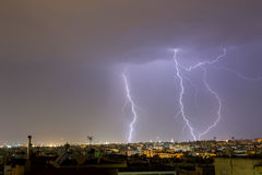 Lightning storm strikes the city of Thessaloniki, Greece Stock Images