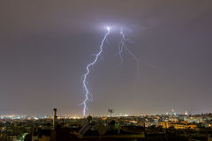 Lightning storm strikes the city of Thessaloniki, Greece Royalty Free Stock Image
