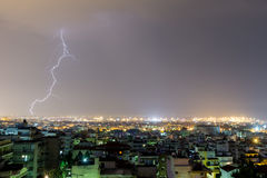 Lightning storm strikes the city of Thessaloniki, Greece Royalty Free Stock Images