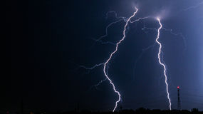 Lightning. Storm, the thunder lights the sky royalty free stock images