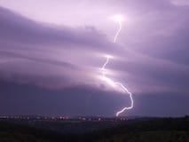 Lightning storm. Storm lightning weather night rain Stock Images