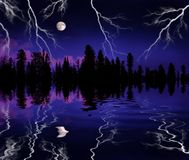 Lightning Storm in Wilderness. With full moon and trees reflected in lake Royalty Free Stock Photography