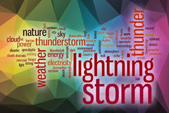 Lightning storm word cloud with abstract background Stock Photo