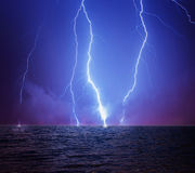Lightning in a stormy sky Royalty Free Stock Images