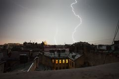 Lightning strike. Over St. Petersburg, Russia skyline Royalty Free Stock Images