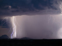 Lightning Strike. Lightning striking the ground during a nighttime storm Royalty Free Stock Photography