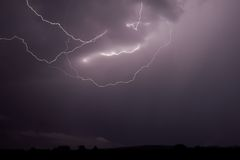 Lightning strike 8. Lightning strike within a thunderstorm at night Stock Image