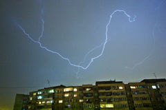 Lightning strike above city Stock Photo