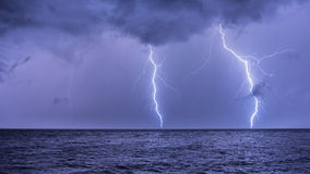 A Lightning Strike on the Adriatic Sea stock photos