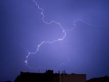 Lightning strike. In lightning arrester by night Stock Photography