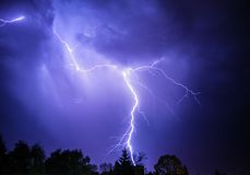 Lightning. Strike captured during thunderstorm stock image