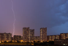 Lightning strike in the city Royalty Free Stock Photo