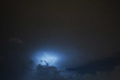 Lightning strike on the cloudy dark sky. Fantastic summer night Royalty Free Stock Images