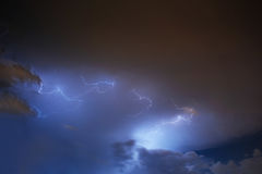 Lightning strike on the cloudy dark sky. Fantastic summer night Royalty Free Stock Photo