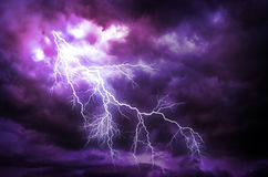 Lightning strike. A lightning strike on the cloudy sky royalty free stock image