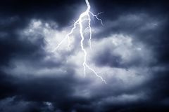 Lightning strike. A lightning strike on the cloudy sky Stock Images