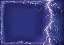 Lightning strike on dark blue sky background .Mesh Stock Photography