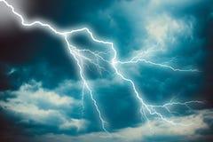 Lightning strike on the dark sky Stock Photos