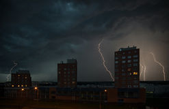 Lightning strike in the darkness Stock Photos