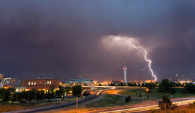 Lightning Strike in Denver Colorado Royalty Free Stock Photography