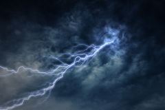 Lightning strike during an electrical storm Royalty Free Stock Photos