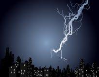 Lightning Strike. Illustration of a lightning crashing over an urban area Stock Image