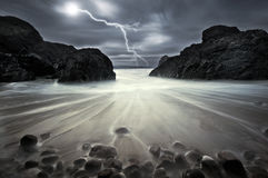 Lightning strike at Kynance Cove Stock Image