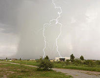 A Lightning Strike Looks Like a Giant Stock Photography