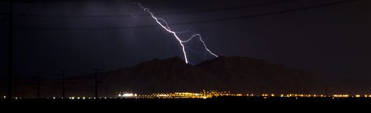 Lightning Strike on the Mountain Royalty Free Stock Photo