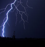 Lightning Strike at Night Stock Image