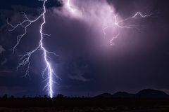 Lightning strike at night Royalty Free Stock Images