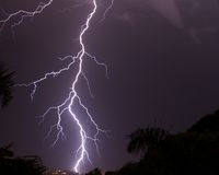Lightning strike in the night's sky Stock Photography