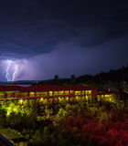 Lightning strike during night thunderstorm, Chalkidiki. Royalty Free Stock Photography