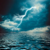 Lightning Strike On The Dark Cloudy Sky Royalty Free Stock Images