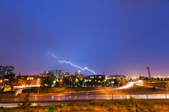 Lightning Strike Over Denver Royalty Free Stock Photo